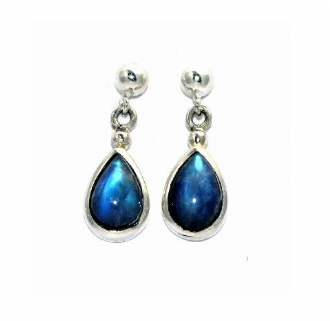 Teardrop Rainbow Moonstone Earrings Silver medium